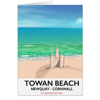 Towan Beach - Newquay Sandcastle travel print Card