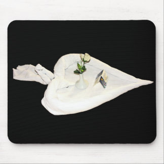 Towel Art - White Heart, Single White Rose, Swan Mouse Pad