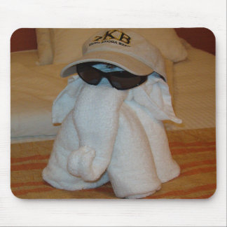 Towel Elephant with Sunglasses Mouse Pads