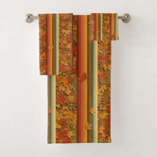 Towel Set - Autumn Leaves and Stripes
