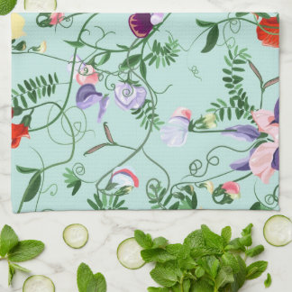 Towel with decorative sweet pea flowers