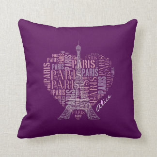 Tower and Inscriptions Paris in Heart Cushion