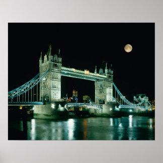 Tower Bridge at Night, London, England Poster