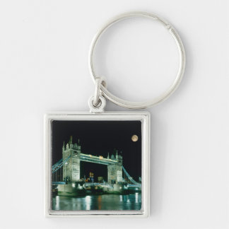 Tower Bridge at Night, London, England Silver-Colored Square Key Ring