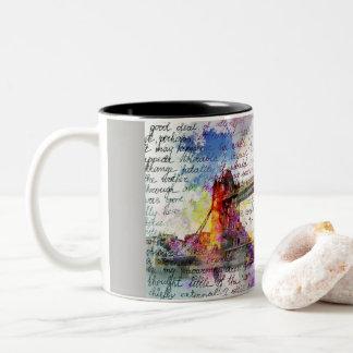 Tower Bridge, London, Sketchbook kind Two-Tone Coffee Mug