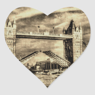 Tower Bridge London Vintage Heart Sticker