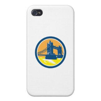 Tower Bridge London Woodcut Retro iPhone 4/4S Case