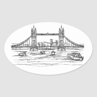 tower bridge of London Oval Sticker