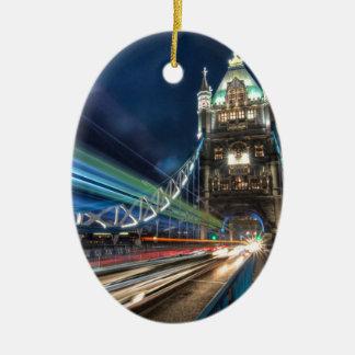 Tower Bridge traffic, London Ceramic Oval Decoration