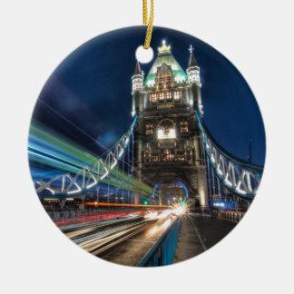 Tower Bridge traffic, London Round Ceramic Decoration