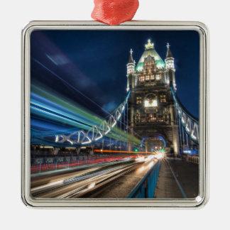Tower Bridge traffic, London Silver-Colored Square Decoration