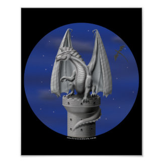 Tower Guardian - Silver Dragon Poster