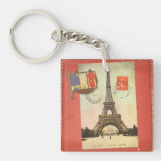 Tower of Eiffel Single-Sided Square Acrylic Key Ring