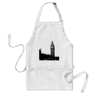 Tower of London Big Ben Black and White Photograph Standard Apron