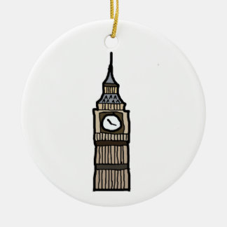 Tower of London Big Ben Cartoon Illustration Round Ceramic Decoration