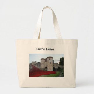Tower of London with Red Poppies Tote Bags