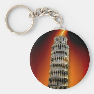 Tower of Pisa Basic Round Button Key Ring