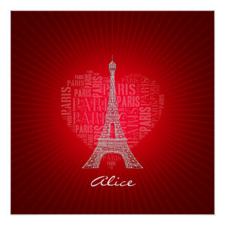 Tower on Text Pattern Paris in Heart Poster
