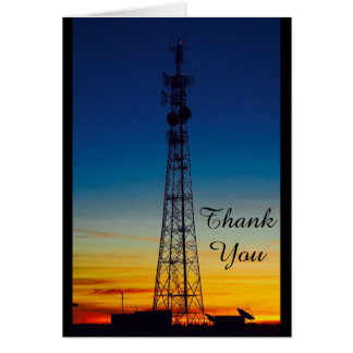 Tower silhouette sunset thank you card