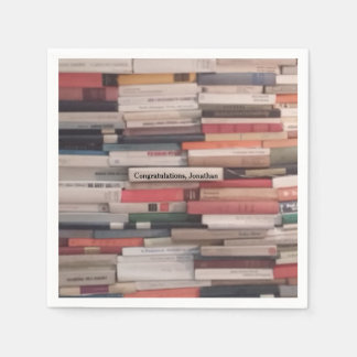 Towering Wall of Books Congratulations Custom Name Disposable Serviette