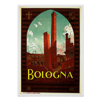 Towers of Bologna Italy Vintage Posters