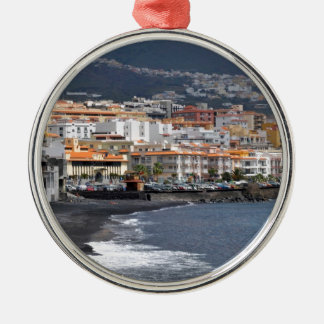 Town and beach of Candelaria at Tenerife Metal Ornament