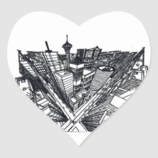 town center in 3 POINT perspective Heart Sticker