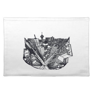 town center in 3 POINT perspective Placemat
