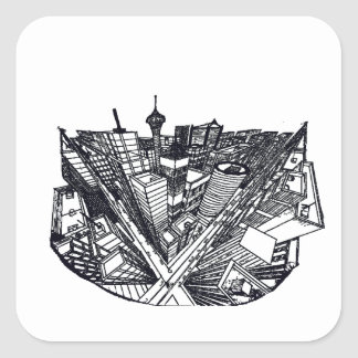town center in 3 POINT perspective Square Sticker