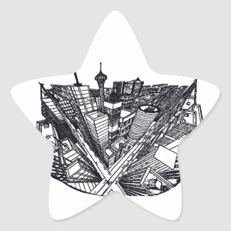 town center in 3 POINT perspective Star Sticker