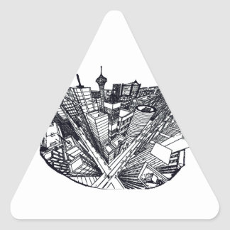 town center in 3 POINT perspective Triangle Sticker