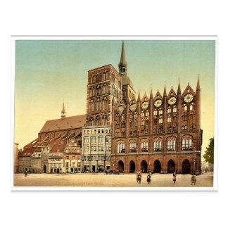Town hall and St. Nicholas Church, Stralsund, Pomm Postcard