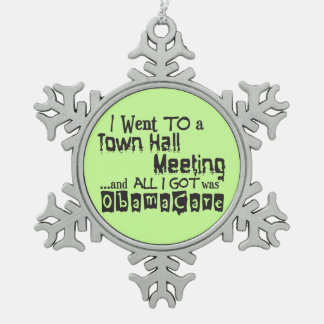 Town Hall Meeting ObamaCare Pewter Snowflake Decoration