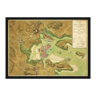 Town of Boston Map by Thomas Hyde Page (1776) Canvas Print