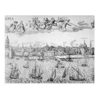 Town Plan of Antwerp, 1549 Postcard