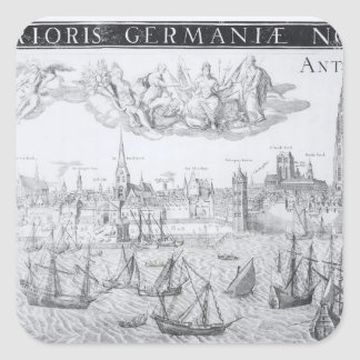 Town Plan of Antwerp, 1549 Square Stickers