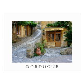 Townscape in Dordogne white postcard