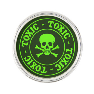 Toxic Green Skull and Crossbones Lapel Pin
