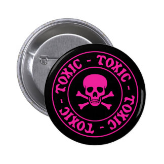 Toxic Pink Skull and Crossbones 6 Cm Round Badge