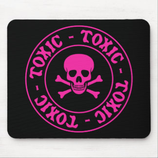 Toxic Pink Skull and Crossbones Mousepad