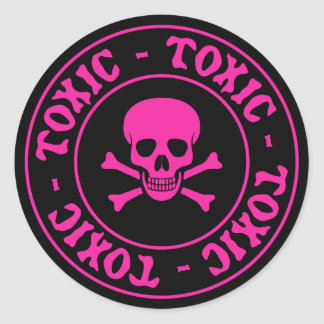 Toxic Pink Skull and Crossbones Sticker