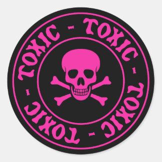 Toxic Pink Skull and Crossbones Sticker
