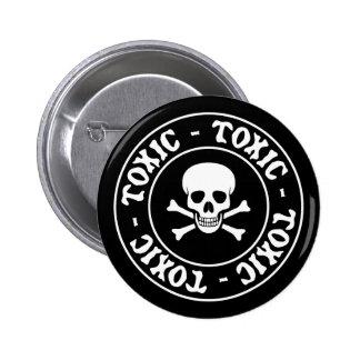 Toxic Skull and Crossbones 6 Cm Round Badge