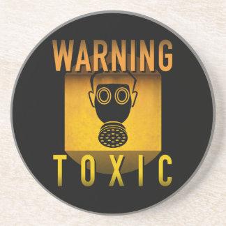 Toxic Warning Gas Mask Retro Atomic Age Grunge : Coaster
