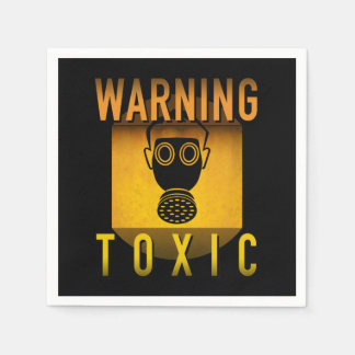 Toxic Warning Gas Mask Retro Atomic Age Grunge : Disposable Serviette