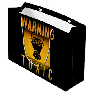 Toxic Warning Gas Mask Retro Atomic Age Grunge : Large Gift Bag
