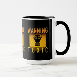 Toxic Warning Gas Mask Retro Atomic Age Grunge : Mug