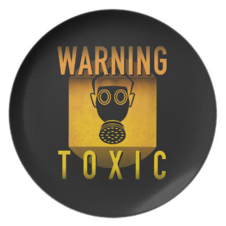 Toxic Warning Gas Mask Retro Atomic Age Grunge : Plate