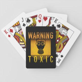 Toxic Warning Gas Mask Retro Atomic Age Grunge : Playing Cards