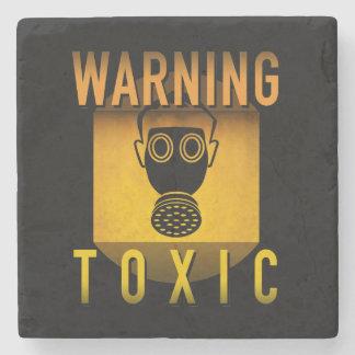 Toxic Warning Gas Mask Retro Atomic Age Grunge : Stone Coaster